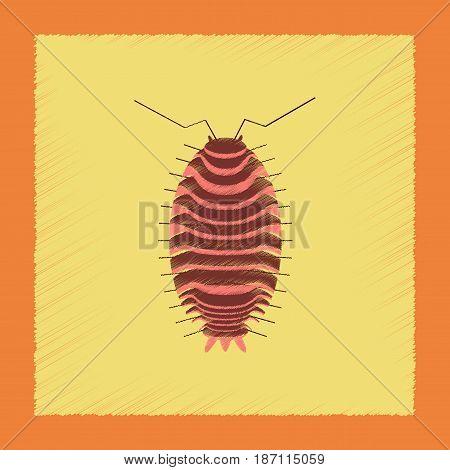 flat shading style illustration of wood louse