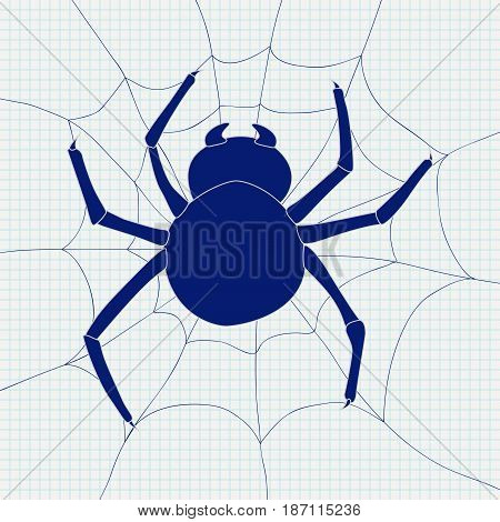 Spider and spider web icon. Vector illustration on Notebook sheet background