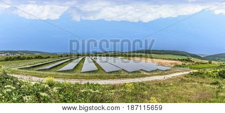 Solar Panel Under Cloudy Sky In Germany