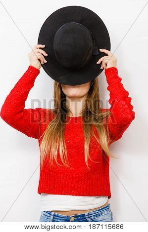 Young Lady Hiding Her Face.
