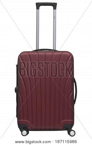 Burgundy / Marsala Plastic Suitcase Isolated On White Background