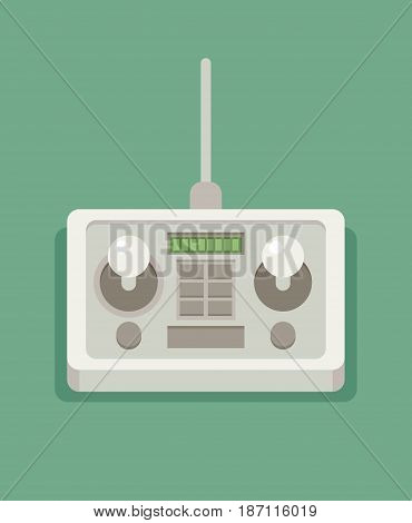 Radio remote control. Flat vector colorful illustration