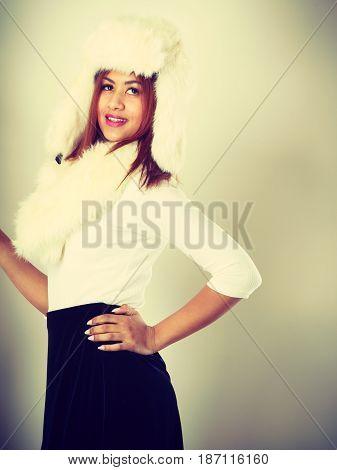 Mulatto Woman Wearing Winter Fur Cap