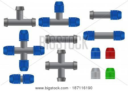 Pipe connections for garden hose. Quick Connector. Vector illustration isolated on white background.