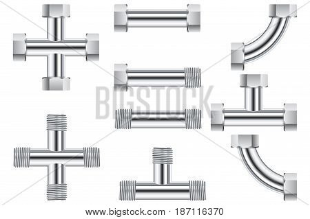 Pipes. Water metal pipe. Vector illustration isolated on white background