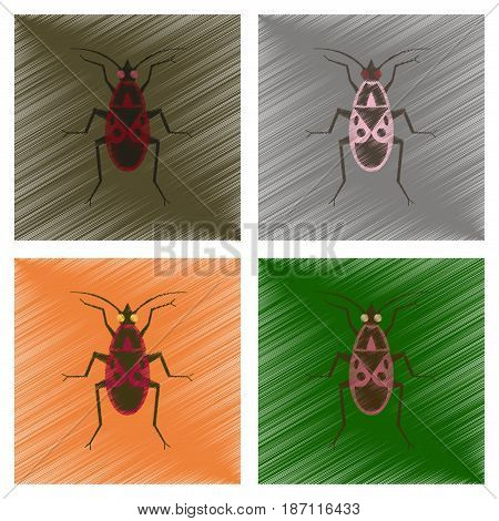 assembly flat shading style illustration of soldier bug