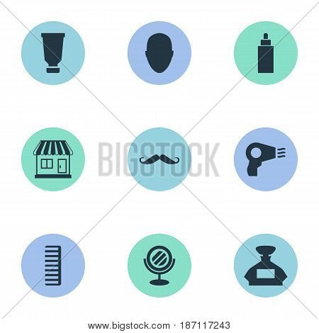 Vector Illustration Set Of Simple Beautician Icons. Elements Blow Dryer, Container, Human And Other Synonyms Head, Bottle And Store.