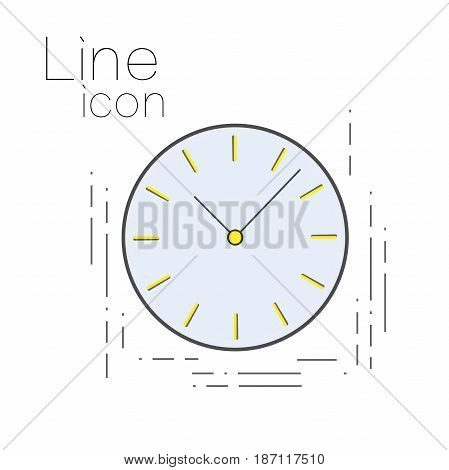 Icon time in linear simple style. Clock sign. deadline symbol
