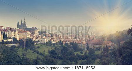 Prague Czech Republic. Panorama of the old city retro effect