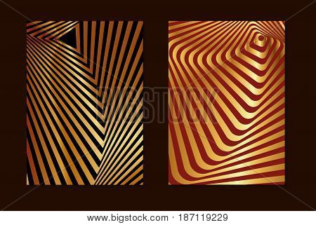 Set striped gold and red opt art. Geometric optical illusion with stripes. Abstract background card. Vector illustration.