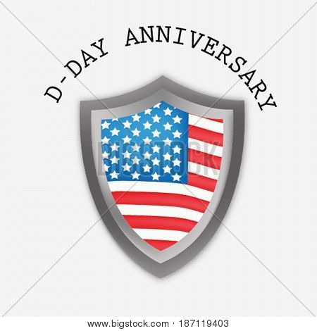 illustration of shield in US flag background with D-Day anniversary text