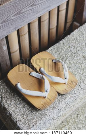 Geta Or Traditional Japanese Footwear, A Kind Of Flip-flops Or Sandal With An Elevated Wooden Base H