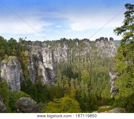 Bastei rock formation in Saxon Switzerland National Park Germany
