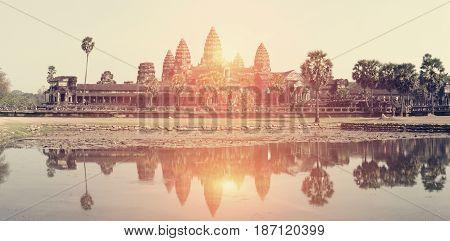 Angkor Wat Temple Siem reap Cambodia. retro effect