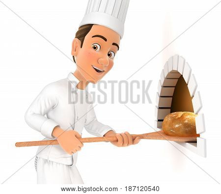 3d head chef putting bread in oven illustration with isolated white background
