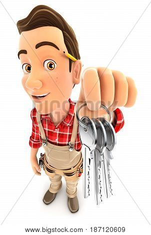 3d handyman holding a bunch of keys illustration with isolated white background