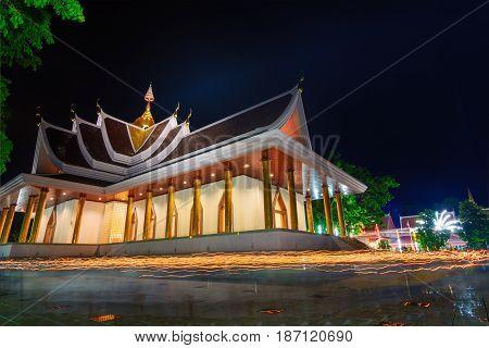 Pa Pradoo Temple In Night Scene.