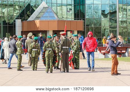 Kirishi, Russia - 9 May, A group of people in uniform, 9 May, 2017. Preparation and conduct of the action Immortal regiment in small cities of Russia.