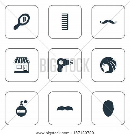 Vector Illustration Set Of Simple Beautician Icons. Elements Beard, Human, Whiskers And Other Synonyms Lady, Mustache And Aroma.