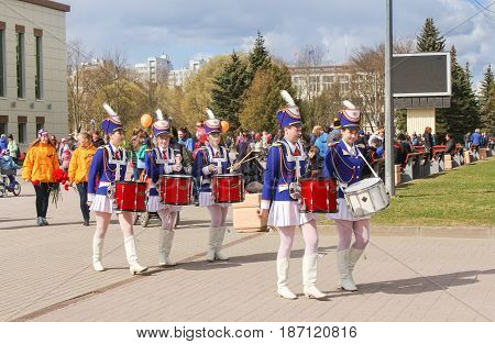 Kirishi, Russia - 9 May, A group of girls drummers, 9 May, 2017. Preparation and conduct of the action Immortal regiment in small cities of Russia.