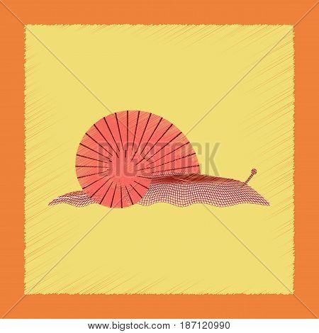 flat shading style illustration of snail animal