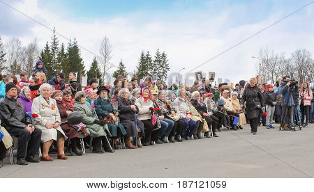 Kirishi, Russia - 9 May, Older people at a rally, 9 May, 2017. Holding a festive rally dedicated to the Victory Day.