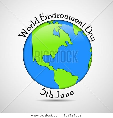 illustration of earth with world environment day 5th June text