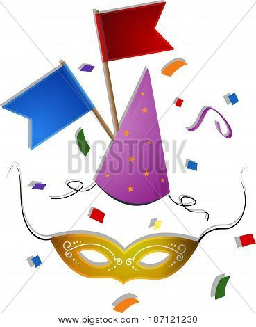 Carnival mask with hat flags and confetti. EPS 10