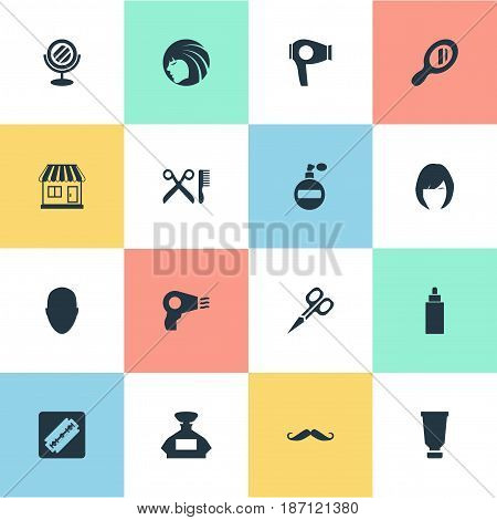 Vector Illustration Set Of Simple Beautician Icons. Elements Aroma, Drying Machine, Reflector And Other Synonyms Scent, Male And Mirror.