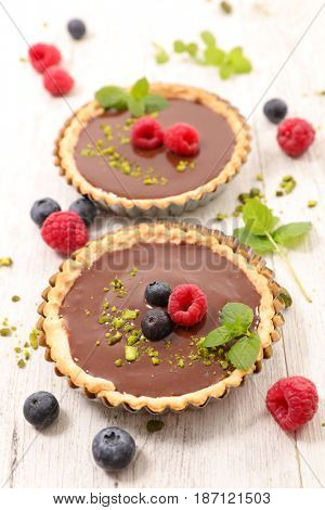 chocolate cake and berry fruit