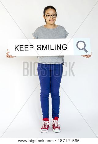 Young girl holding banner network graphic overlay