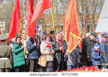 Kirishi, Russia - 9 May, Celebrations on Victory Day, 9 May, 2017. Laying wreaths and flowers in memory of the fallen at the Eternal Flame.