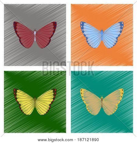assembly flat shading style illustration of insect butterfly