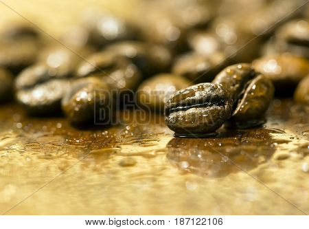 Enjoy life and morning - fresh coffee beans closeup