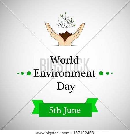 illustration of elements of hands, soil, plant with world environment day 5th june text