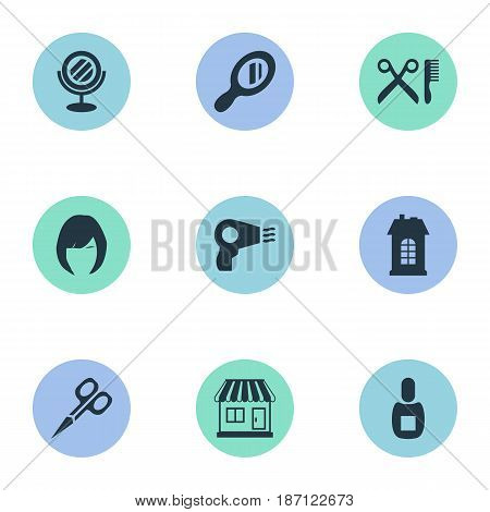 Vector Illustration Set Of Simple Beautician Icons. Elements Supermarket, Premises, Hair And Other Synonyms Looking-Glass, Reflector And Store.