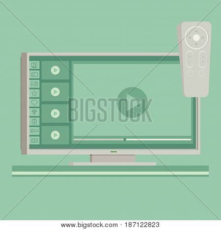 Vector smart tv concept - illustration in flat style with apps and video player on screen and remote control