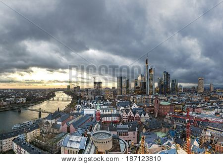 Skyline Of Frankfurt Am Main In The Evening