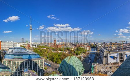 Aerial Wide-angle View Of Berlin Skyline With Famous Tv Tower At Alexanderplatz