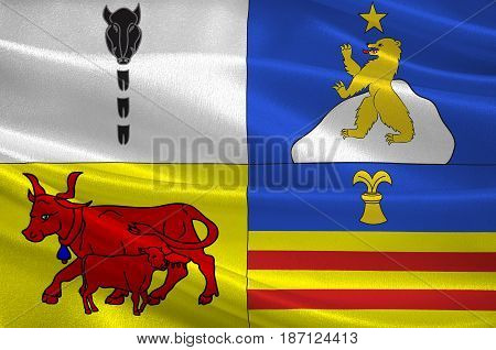 Flag of Argeles-Gazost is a commune in the Hautes-Pyrenees department in southwestern France. 3d illustration