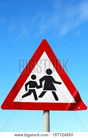 Crosswalk Sign  Simbol Isolated  In The Sky