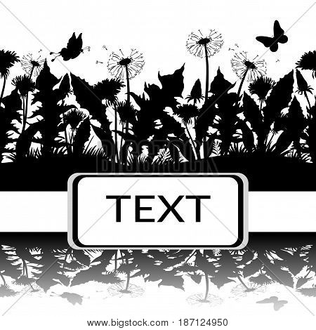 Horizontal Seamless Pattern, Summer Landscape, Butterflies, Grass, Leaves and Flowers Dandelions Black Silhouettes and Reflection in Water or Shadow, Isolated on White Background. Vector