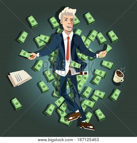 Businessman lying on the money. Rich man. Vector illustration