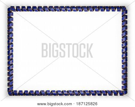 Frame and border of ribbon with the state North Dakota flag USA edging from the golden rope. 3d illustration