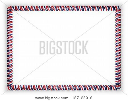 Frame and border of ribbon with the state Missouri flag USA. 3d illustration