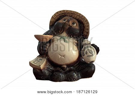 Tanuki Statue with Sake Bottle Isolated on White Background