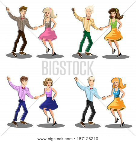 Professional dancer couple dancing. Vector illustration isolated