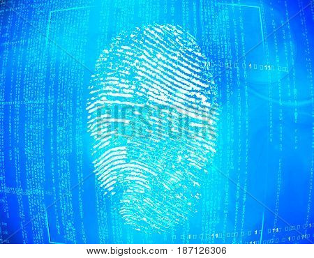 Abstract blue technology background scan fingerprint biometric identity approval. security concept.