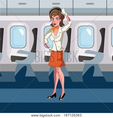 Stewardess in the airplane. Vector illustration of a flat design