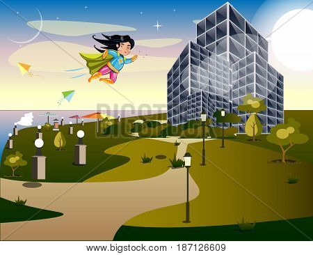 Girl Super Hero. Supergirl Standing on the Roof. Pop Art. Vector illustration
